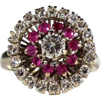 18k White Gold Diamond and Ruby Cluster Ring