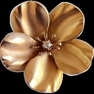 14K Gold Five-Petal Flower Pin, Diamond Center