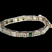 Art Deco 14k White Gold Filigree Bracelet