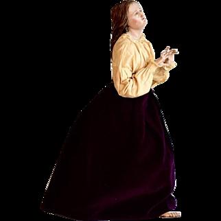 Large Italian Creche Figure, Polychrome on Wood, Woman
