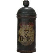 Turned Wood Apothecary Jar with Alchemical Symbol for Earth, 18th Century