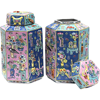 Pair of  Qing Reproduction Chinese Hexagonal Covered Tea Jars