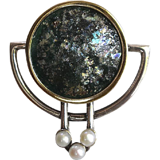 Roman Glass Pendant, Brooch Sterling 925 Bruria