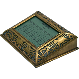 Tiffany Studios New York Pine Needle Desk Calendar, Gilt Metal and Glass