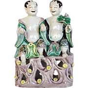 Chinese Kangxi HeHe Erxian Brothers on Pierced Base