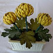 Miniature metal chrysanthemum in planter box - Red Tag Sale Item