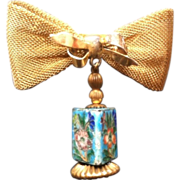 Bow Pin with Old Enamel Bead