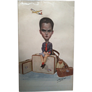 Mixed Media 1950s Northwest Airlines Advertising Art with Big Head Added