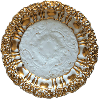 Set of Two 19th Century Meissen Gold and White Embossed Plates