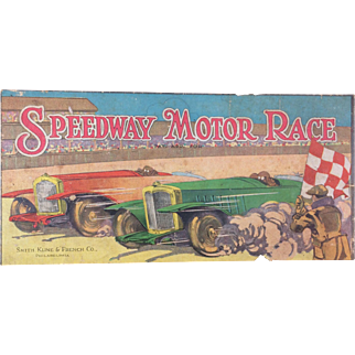 Smith, Kline and French Lithographed Speedway Motor Race Game Board