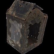 Antique Civil War Era Folding Tin Candle Pocket Lantern, Minor's Patented 1865