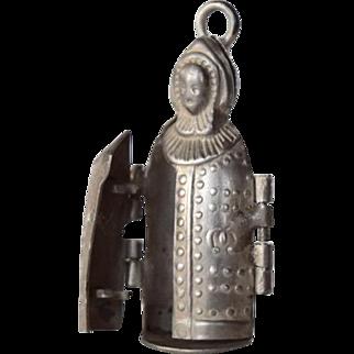 Rare Repousse Antique Silver Mechanical Iron Maiden Eiserne Jungfrau Charm