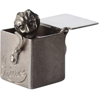 800 Silver Swiss Mechanical Jack in the Box Charm of the Devil