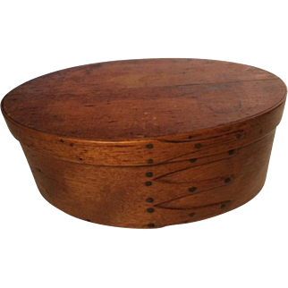 Late 19th Century Oval Finger Shaker Box with Copper Nails