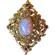 Ornate Vintage Unsigned Florenza Imitation Opal, Rhinestone & Faux Pearl Pin