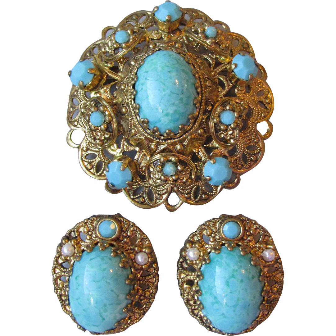 Vintage 1950's West Germany Imitation Turquoise Bohemian Glass & Faux Pearl Ornate Filigree Pin & Earrings Set