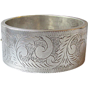 Huge Engraved Sterling Silver Vintage Hinged Bangle Bracelet