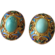 Chinese Export Gilt Sterling Silver & Enamel Turquoise Pierced Vintage Earrings