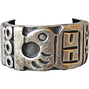 Vintage Taxco TC-211 Mexico Sterling Silver Wide Band Ring with Eagle Head, Unisex Size 9