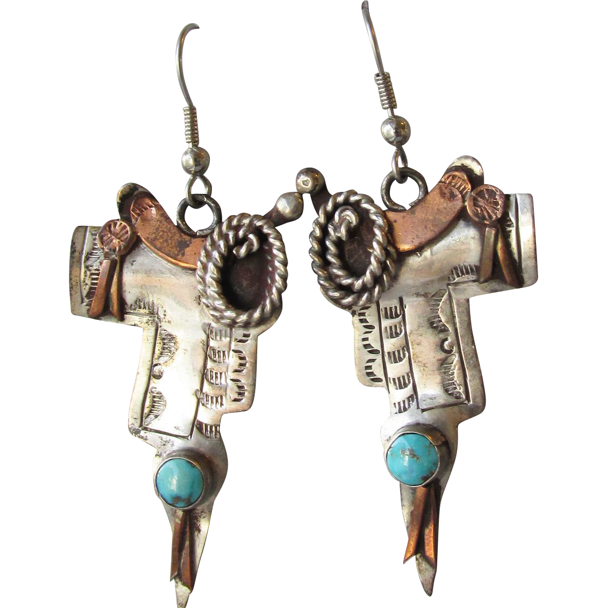 Vintage Western Cowgirl Sterling Silver, Copper & Turquoise Horse SADDLE Dangle Earrings