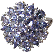 Big Sterling Silver Tanzanite & Diamond Cluster Flower Cocktail Ring, Size 7.5