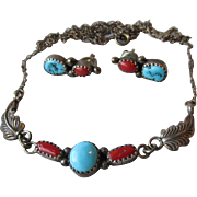 Vintage Navajo Artist Richard Begay Sterling Silver, Turquoise and Coral Necklace & Earrings Set