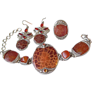 Spectacular SAJEN Sterling Silver, Leopard Fire Agate, Mexican Fire Opal & Carnelian Parure, Vintage Bali Bracelet, Ring & Earrings Set