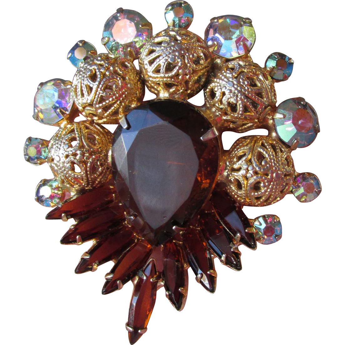 Vintage DeLizza & Elster D&E Root Beer Navette Rhinestone Filigree Bead Pin