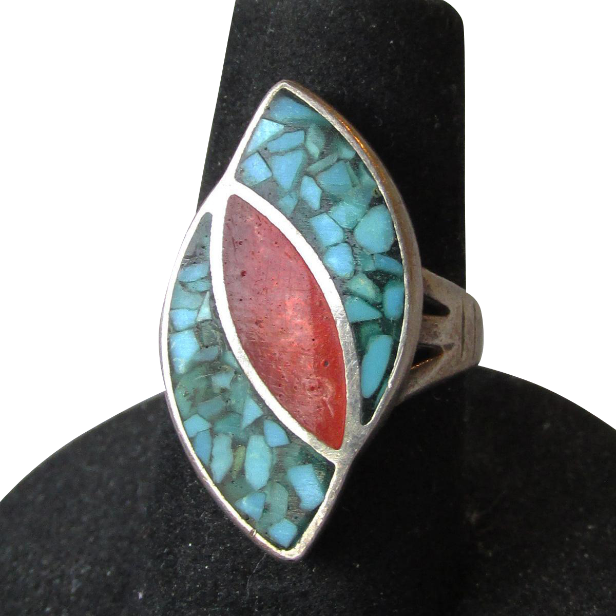 Native American Navajo Sterling Silver Inlaid Turquoise & Coral Ring, Size 5