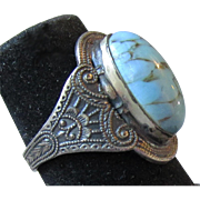Intricate Vintage Sterling Silver Venetian Glass Faux Turquoise Ring, Size 4.75