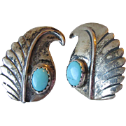 Vintage Native American Navajo Sterling Silver & Turquoise Clip Feather Design Earrings, Signed MN