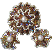 Vintage VENDOME Ruffled Flower Amber Tan AB Crystal & Faux Pearl Pin & Earrings Set, Book Piece