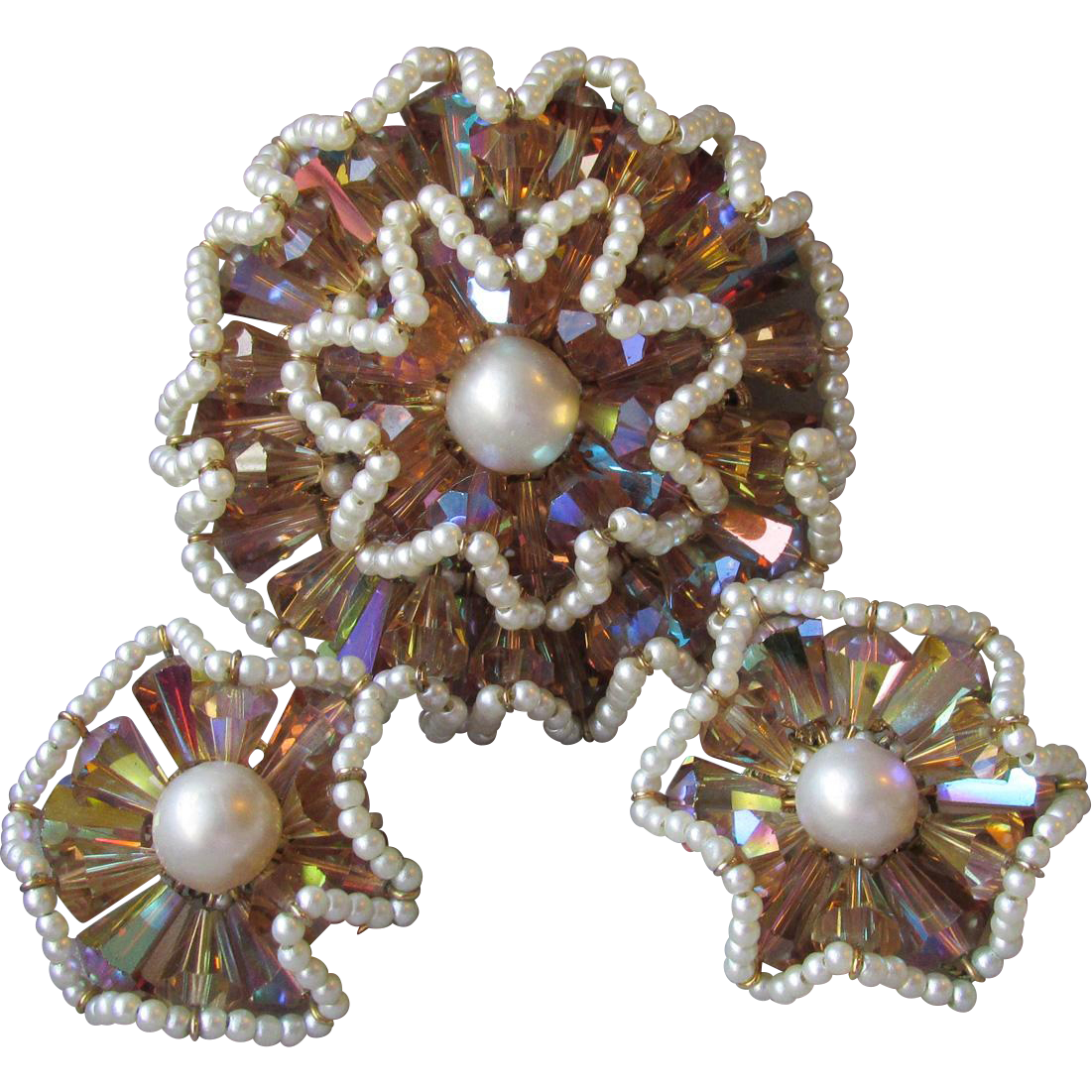 1950's Vintage VENDOME Ruffled Flower Tan AB Crystal & Faux Pearl Pin & Earrings Set, Book Piece