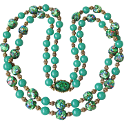 Extra Fine Green & Foil Art Glass Two-Strand Long Bead 1950's Vintage Necklace