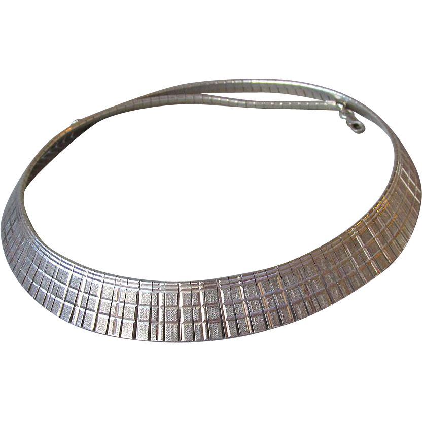 Vintage Italian Sterling Silver Etched Collar Necklace, 30 Grams
