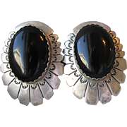 BIG 1980's Vintage Navajo Concha Style Sterling Silver & Black Onyx Earrings, Signed A.B.