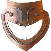 Vintage 1950's Modernist Rebajes Comedy Mask Copper Pin