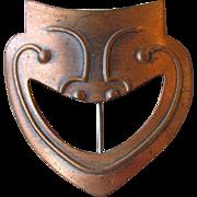 Vintage 1950's Modernist Rebajes Comedy Mask Copper Pin