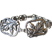 1940's Vintage Sterling Silver Oak Leaf & Acorn Square Panel Bracelet
