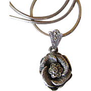 Sterling Silver & Marcasite Double ROSE Vintage Pendant Necklace