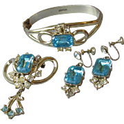 1950's Vintage Aqua Rhinestone Parure, Clamper Bracelet, Dangle Earrings, & Brooch Set