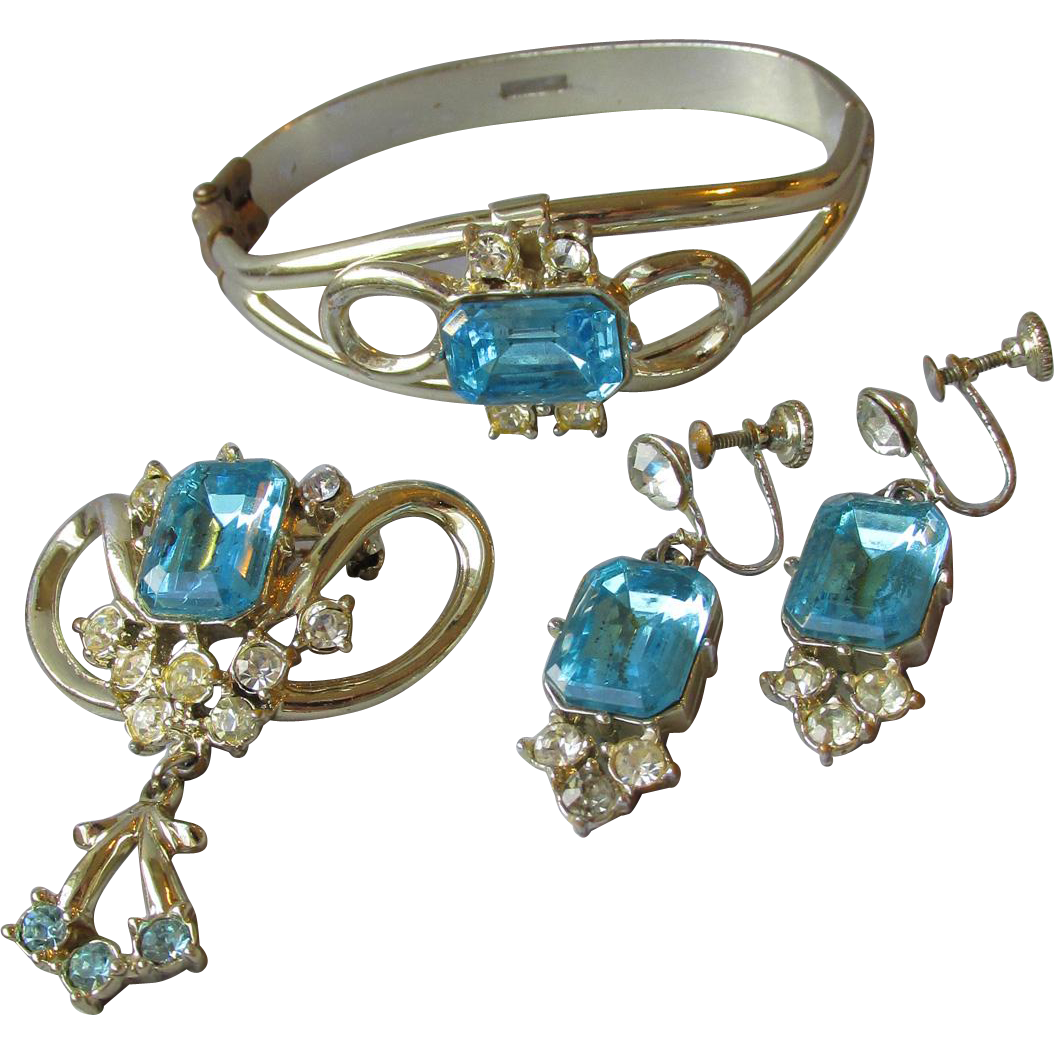 1950's Vintage Big Square Aqua Rhinestone Hinged Bangle Bracelet, Dangle Earrings, Pin Set