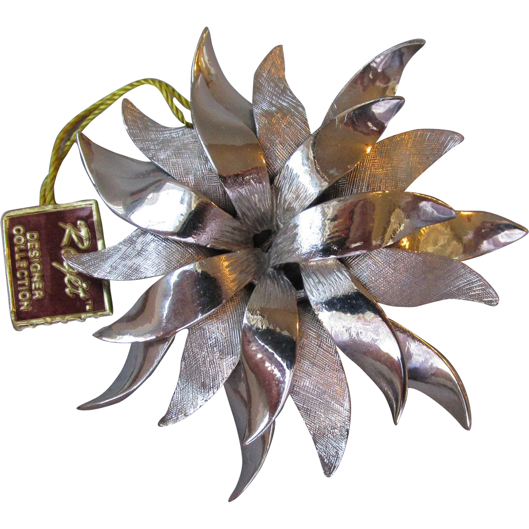 Signed ROGET Large Textured & Gloss Silvertone Sunflower Brooch, Mint with TAG
