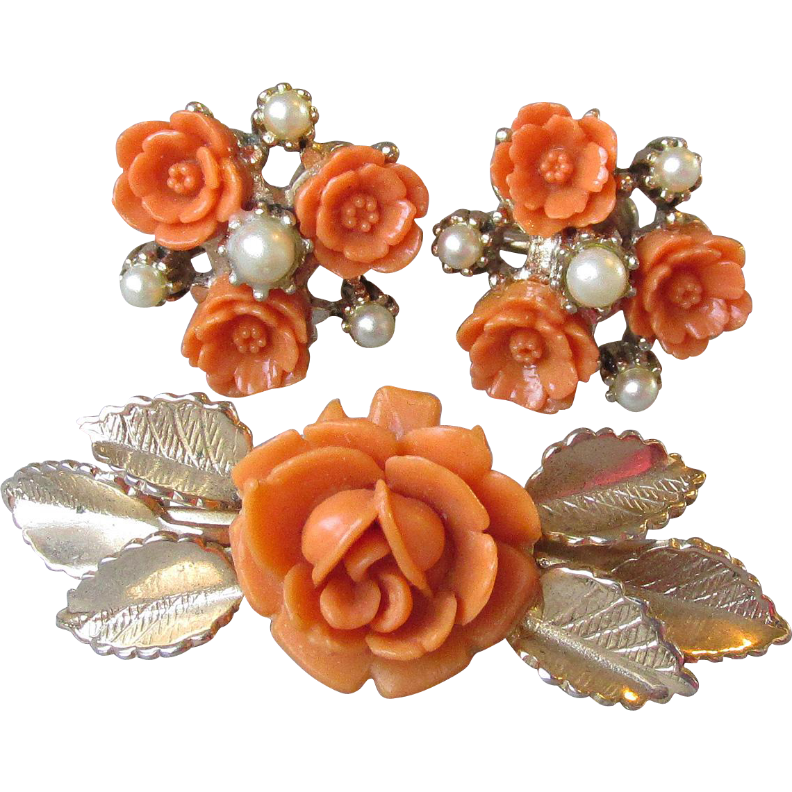 Vintage Celluloid Faux Coral ROSE Pin & Earrings Set