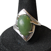 1950's Modernist Sterling Silver & Jade Ring, Size 7