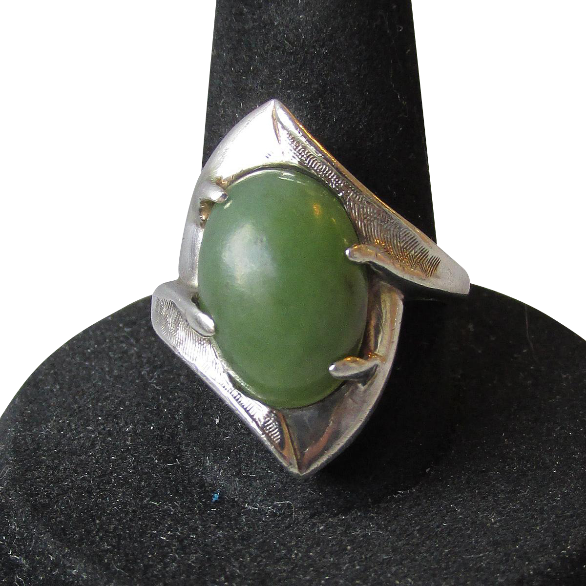 1950's Modernist Sterling Silver & Dark Green Chrysoprase Cabochon Ring, Size 7