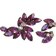 Vintage 1960's Sparkling Dark Purple Rhinestone Pin & Earrings Set