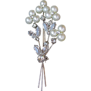 Exquisite Quality Rhodium Plated Faux Pearl Flower & Rhinestone WEDDING Bouquet Vintage Pin
