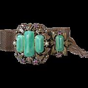 Gorgeous 1950's Vintage Victorian Revival Imitation Jade Mesh Tassel Slide Bracelet