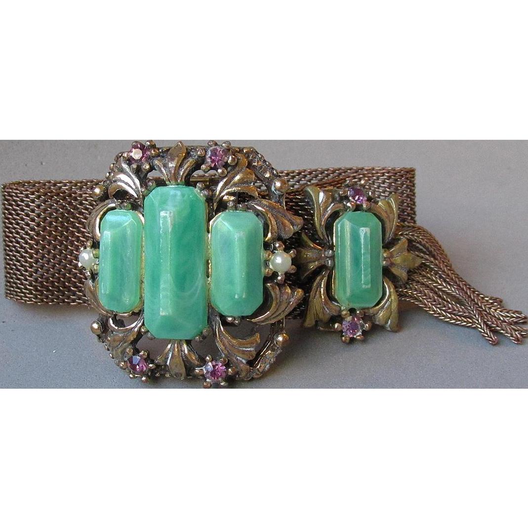 Gorgeous 1950's Vintage Victorian Revival Lucite Imitation Jade & Rhinestone Mesh Tassel Slide Bracelet